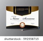 certificate template a4 size... | Shutterstock .eps vector #592558715