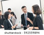 asian business people meeting... | Shutterstock . vector #592559894