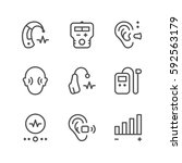 set line icons of hearing aid | Shutterstock .eps vector #592563179