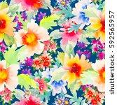 watercolor floral botanical... | Shutterstock . vector #592565957
