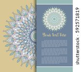 mandala vector  greeting ... | Shutterstock .eps vector #592571819