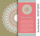 mandala vector  greeting ... | Shutterstock .eps vector #592571855