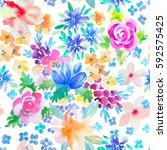watercolor floral botanical...   Shutterstock . vector #592575425