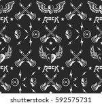 rock music seamless pattern... | Shutterstock .eps vector #592575731