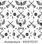 rock music seamless pattern... | Shutterstock .eps vector #592575737