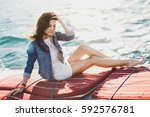 Attractive Girl On A Yacht At...