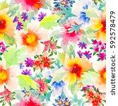 watercolor floral botanical... | Shutterstock . vector #592578479