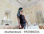 fashion portrait of gorgeous... | Shutterstock . vector #592580231