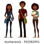 cartoon illustration of african ... | Shutterstock .eps vector #592582901