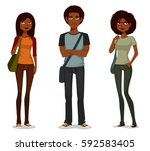 african american students in... | Shutterstock .eps vector #592583405
