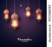 beautiful hanging shiny... | Shutterstock .eps vector #592588085