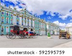 horse drawn carriages on the... | Shutterstock . vector #592595759