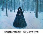 mysterious woman in black | Shutterstock . vector #592595795