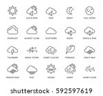 set of minimal weather related... | Shutterstock .eps vector #592597619