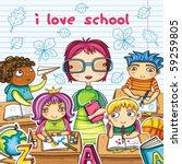 teacher and cute children in...   Shutterstock .eps vector #59259805