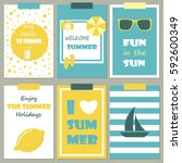 vector set of bright summer... | Shutterstock .eps vector #592600349