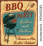 vintage bbq poster | Shutterstock .eps vector #592602281