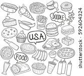 usa traditional and fast food... | Shutterstock .eps vector #592604324