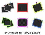 collage of colored photo frames ... | Shutterstock .eps vector #592612595