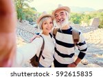 tourism and technology.... | Shutterstock . vector #592615835