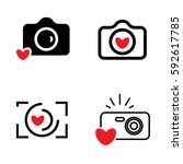digital camera and heart icons... | Shutterstock .eps vector #592617785