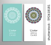 cards or invitations set with... | Shutterstock .eps vector #592618181