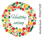 vegetables circle. banner... | Shutterstock .eps vector #592627139
