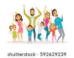 big family birthday party. kids ... | Shutterstock .eps vector #592629239
