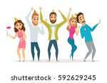 birthday party. people... | Shutterstock .eps vector #592629245