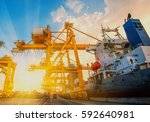 container container ship in... | Shutterstock . vector #592640981
