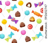 sweet candies seamless pattern... | Shutterstock .eps vector #592652747