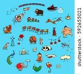 world illustrations set no. 4 ... | Shutterstock .eps vector #592655021