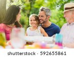 three generations family... | Shutterstock . vector #592655861