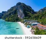 top view of tropical island... | Shutterstock . vector #592658609