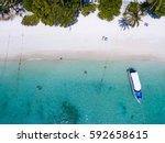 top view of tropical island... | Shutterstock . vector #592658615