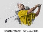 golf player with a yellow... | Shutterstock . vector #592660181
