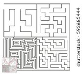 vector complex maze with answer ... | Shutterstock .eps vector #592685444
