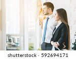 client and worker  business... | Shutterstock . vector #592694171