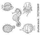 set of sea creatures.   Shutterstock .eps vector #592700849