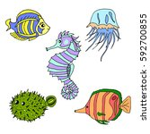set of sea creatures.   Shutterstock .eps vector #592700855