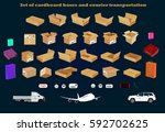 set of cardboard boxes and... | Shutterstock . vector #592702625