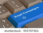 keyboard with keys for e mail... | Shutterstock . vector #592707401