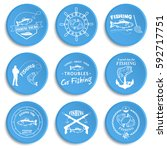 set of vintage fishing labels ... | Shutterstock .eps vector #592717751