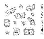 vector set of money. hand drawn ... | Shutterstock .eps vector #592718039
