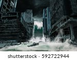 Small photo of A cinematic portrayal of a city destroyed by Tsunami waves. Elements in this cityscape were carefully created, modified and manipulated to resemble a fictitious disaster scene.
