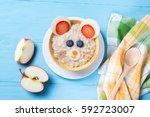 funny oat porridge with mouse...   Shutterstock . vector #592723007