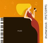 music. background with piano... | Shutterstock .eps vector #592723991