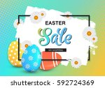 happy easter sale banner with... | Shutterstock .eps vector #592724369