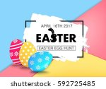 easter egg hunt vector... | Shutterstock .eps vector #592725485