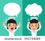 cartoon female nurse expressing ... | Shutterstock .eps vector #592734089